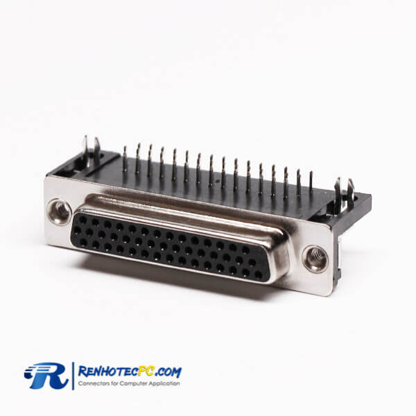 D Sub 25 Pin Right Angle Female Connector Solder Type for PCB Mount