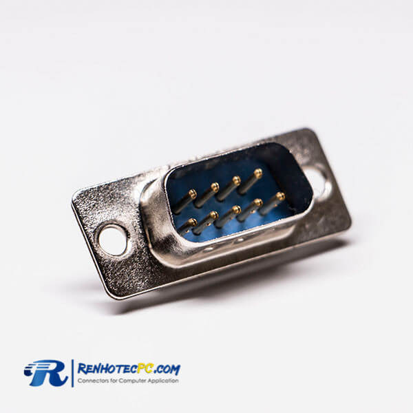 D sub 9 Pin Male Straight Connector Blue Stamped pin Cable Connector