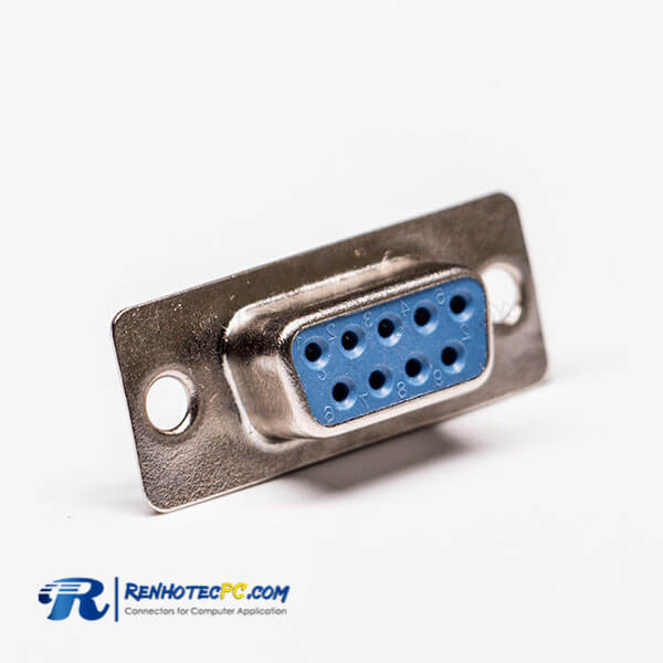 9 Pin d sub Female Straight Connector Blue Cable Connector