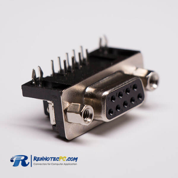D-sub 9 Pin Female Right angle Through Hole for PCB Mount Connector
