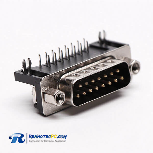 Best D Sub 15 Pin 90° Male Connector Staking Type for PCB Mount
