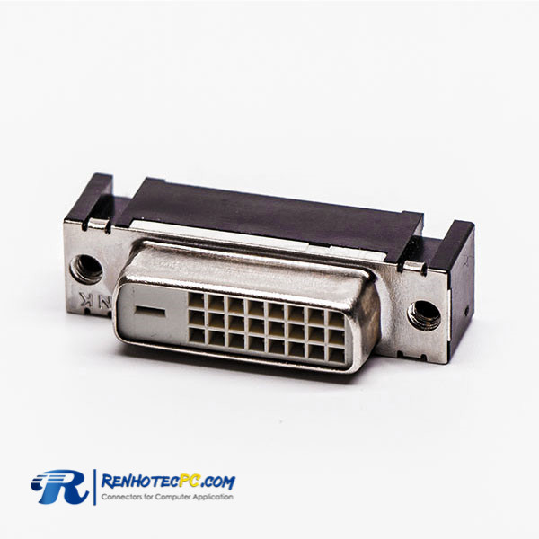 DVI Straight Angle Female 24+1 Connector for PCB Mount White
