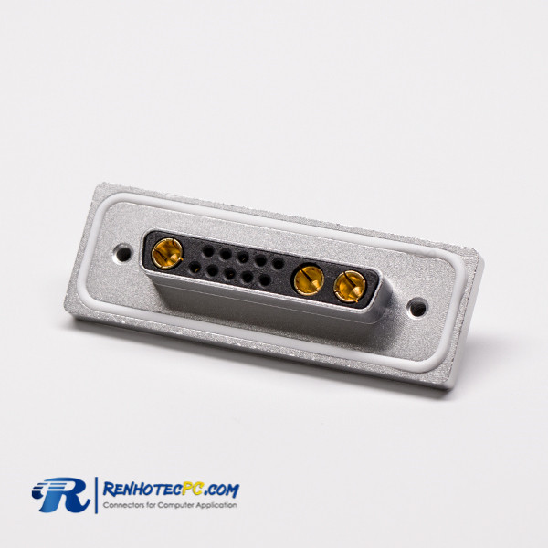 Waterproof D sub 13w3 Connector Female Power 90° hough Hole