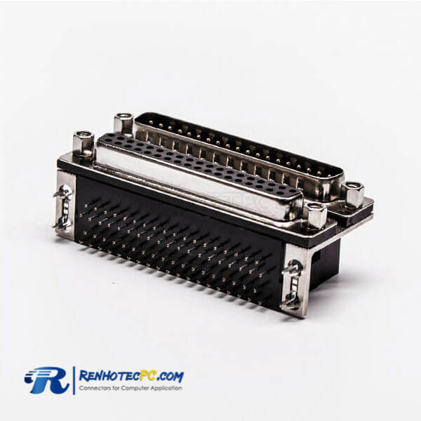 D Sub 37 Female Male Connector to Audio R/A Stacked Type Black Socket