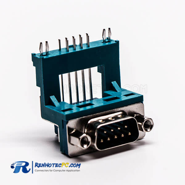 Top D Sub 9 Pin Solder Male Grenn R/A Elevated Type for PCB Mount Connector