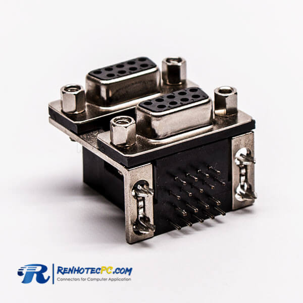 D Sub Connector Staking Female DIP CD81 Series for PCB Connector