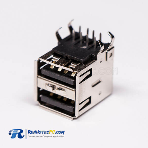 USB 2.0 High Speed Type A Right Angled Female two Port USB Connector