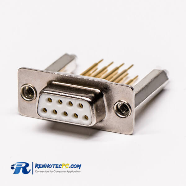 D sub 9 Pin Female 180° Through Hole staking Type Connector