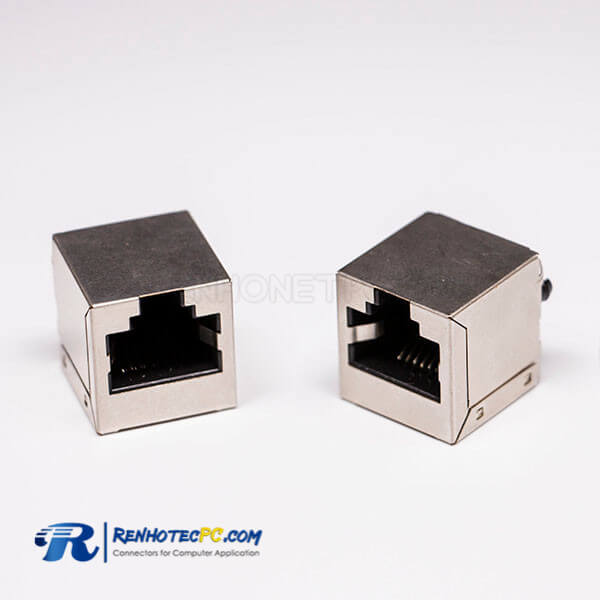 Female RJ45 Connectors 180 Degree 1 Port with Shield and Without LED
