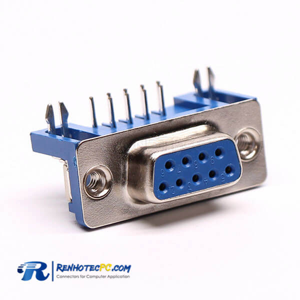 Fast D Sub 9 Pin Solder Female Right Angle for PCB with Stamped Pin Connector