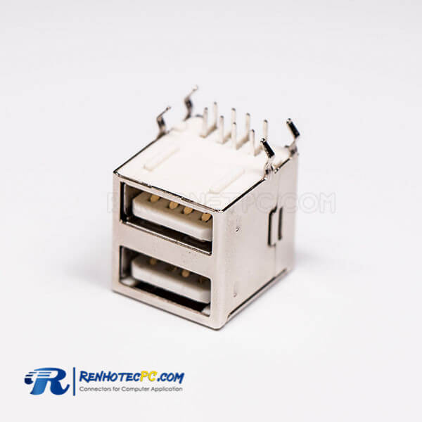 USB 2.0 High Speed Port Dual Port Type A 90° for PCB Mount