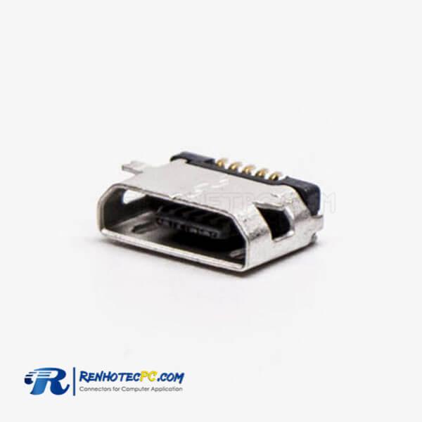 Micro USB 5 Pin Type B Straight SMT Socket for Phone