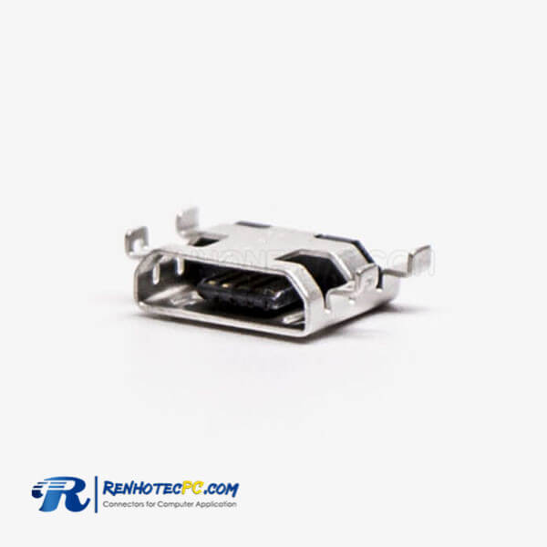 Micro USB Jack 5 Pin Type B Straight offset Type SMT for Phone 9.65MM