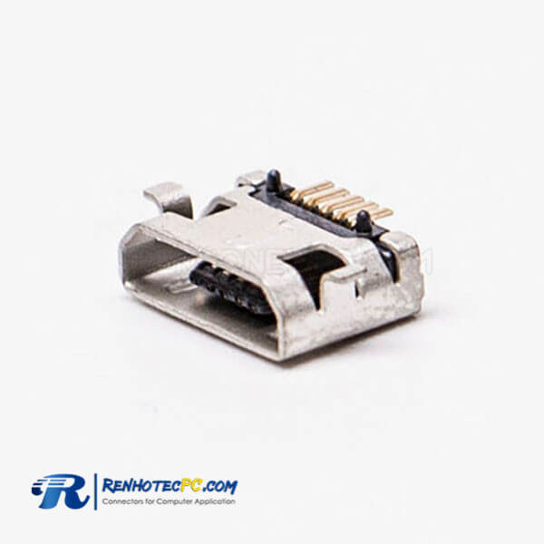 USB Micro Female 5 Pin SMT Type 180 Degree for PCB Mount