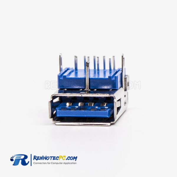 USB 3.0 Port Female Right Angled Blue Through Hole for PCB Mount
