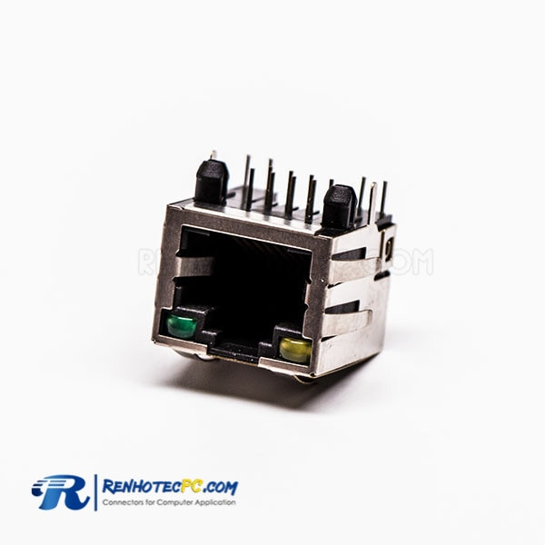 Best RJ45 Connector Female 1 Port 90 Degree with Shield and with LED