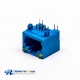 Female RJ45 Connector 1 Port 90 Degree Blue without Shield and With LED for PCB