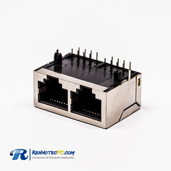 8P RJ45 Female Connectors 90 Degree 2 Port without LED and with Shield for PCB
