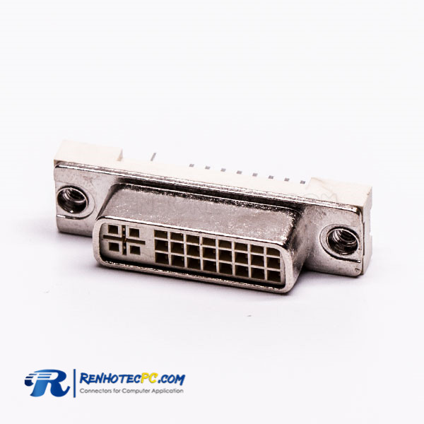 DVI Female Straight 24+5 Through Hole for PCB Mount Connector
