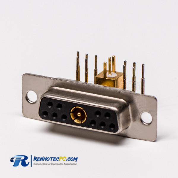 D SUB Coaxial 11W1 Right Angled Solder Type Receptacle For PCB Mount Connector
