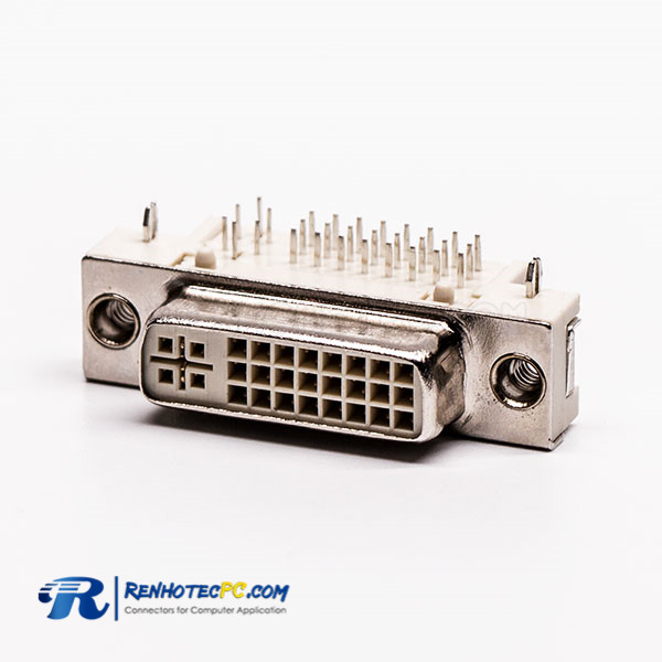 DVI Jack 24+5 Right Angled Through Hole for PCB Mount