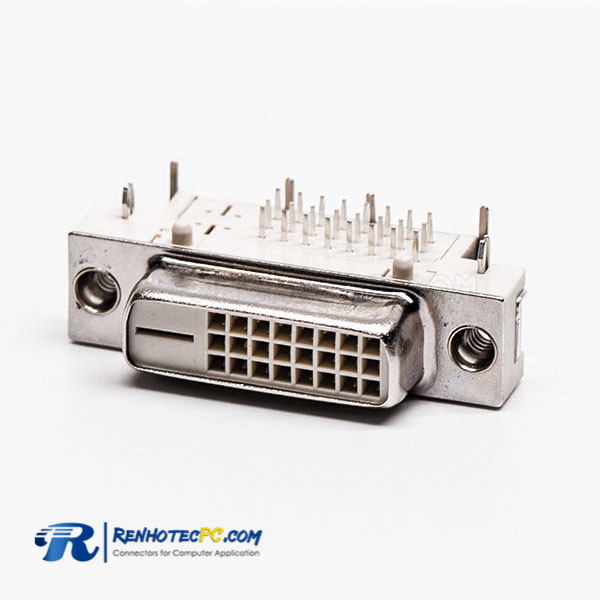 Panel Mount DVI Connector 24+1 Female White for PCB Mount