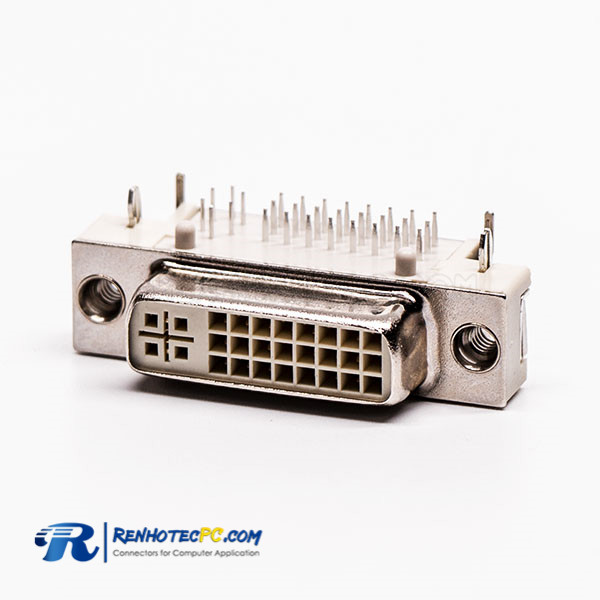 24+5 Female DVI Connector R/A White for PCB Mount