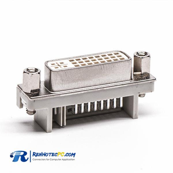 24+5 Pin R/A DVI I Connector White Through Hole Harpoon