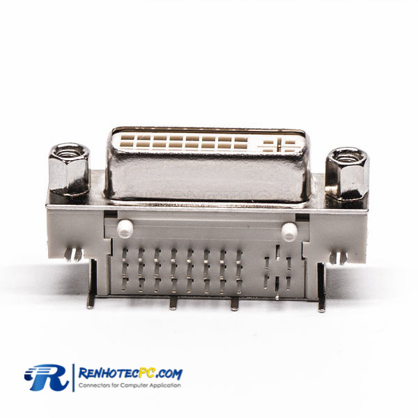 90° DVI Connector Panel Mount 24+5 Pin White for PCB Mount Harpoon