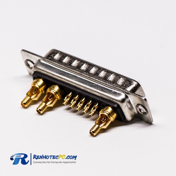 Coaxial D SUB 13W3 Power Connector 180°Male Staking and Solder Type For Cable Mount