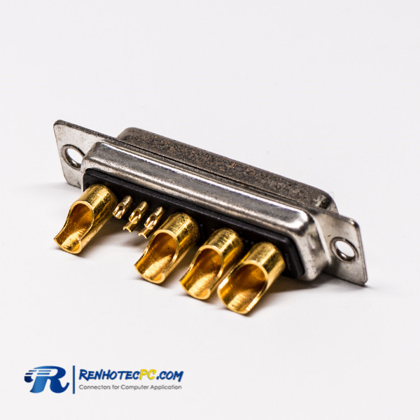 DB9 Female D SUB 9W4 Solder Connector Straight Staking Type For Cable Mount