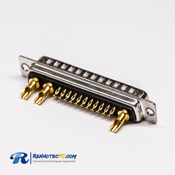 D SUB 25W3 Connector Male Solder Type 180° High Current for Cable with Staking