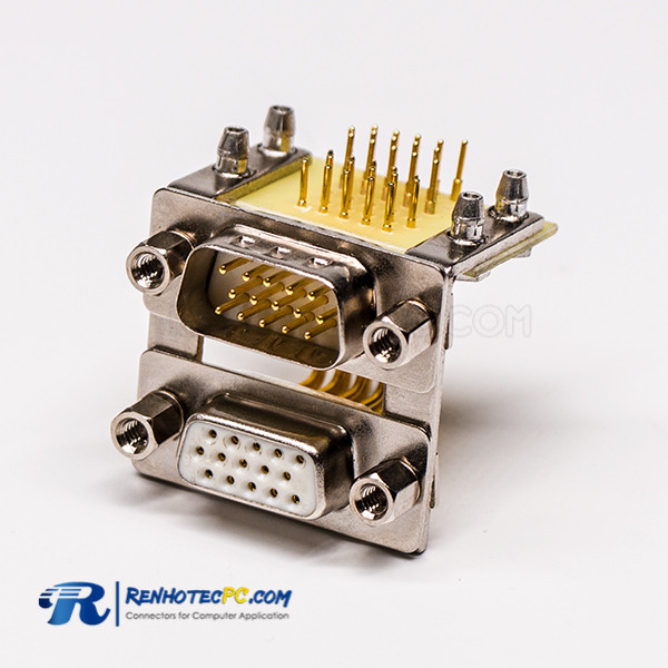 D SUB 15Pin Stacked Connector 90 Degree 19.05 Staking type White Receptacle For PCB Mount
