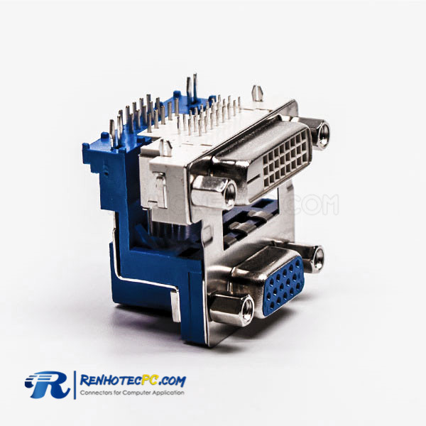 Angled Female Staking Type DVI 24+1 to VGA for PCB Mount