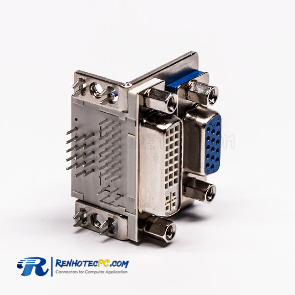 90° Stacked Type DVI 24 1 Female to VGA Female 15 Pin Blue for PCB Mount