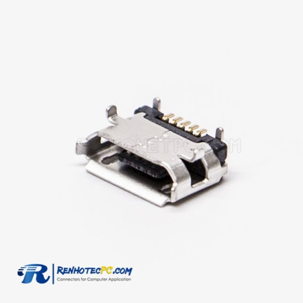 USB B Female Connector Micro 5 Pin SMT Type B Straight for PCB Mount