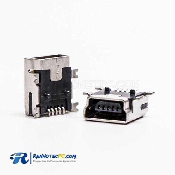 90 Degree Micro USB Female Panel Mount SMT Type B Connector