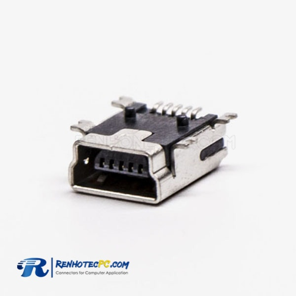 90 Degree Micro USB Female Panel Mount SMT Type B Connector