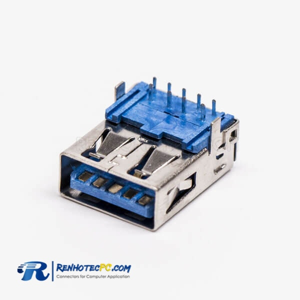 Type A USB 3.0 Jack Female Right Angled Blue DIP Through Hole