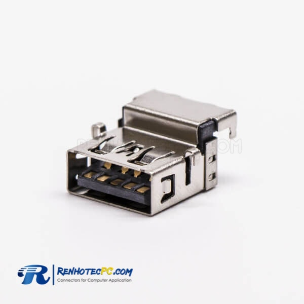 Offset Type USB 3.0 Female Right Angled Type A DIP for PCB Mount