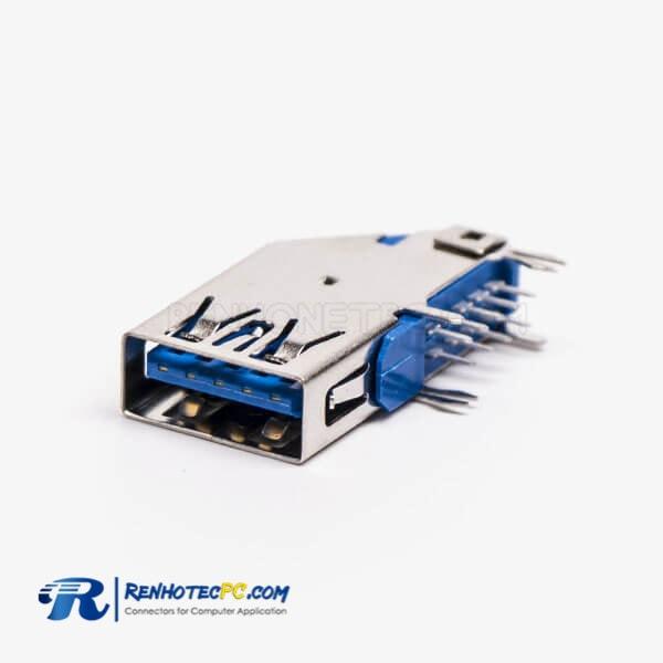 Flag Type Female Offer USB 3.0 Type A 90 Degree DIP Through Hole