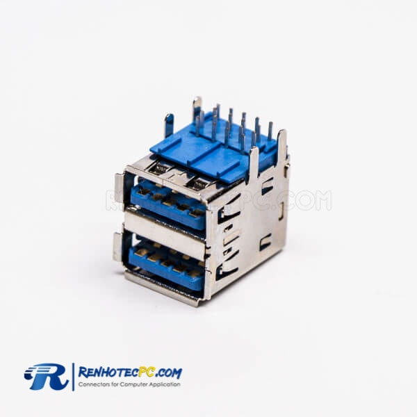 Right Angled usb3.0 Type A Dual Port Female Through Hole