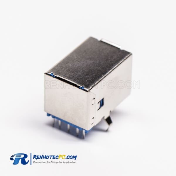 Through Hole USB 3.0 Type B Female Right Angled for PCB Mount