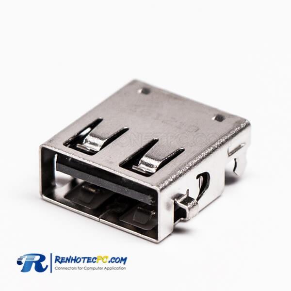 SMT Female 90 Degree USB2.0 Offest Type Through Hole