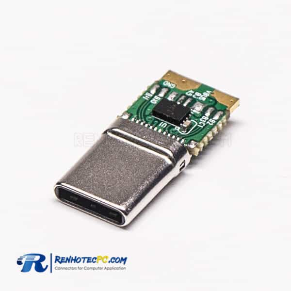 USB Type C Port Male Straight PCB Mount Connector