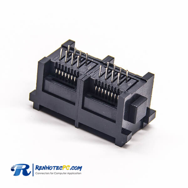 RJ45 Socket PCB Mount Unshielded Black Plastic 180 Degree 2 Port Through Hole