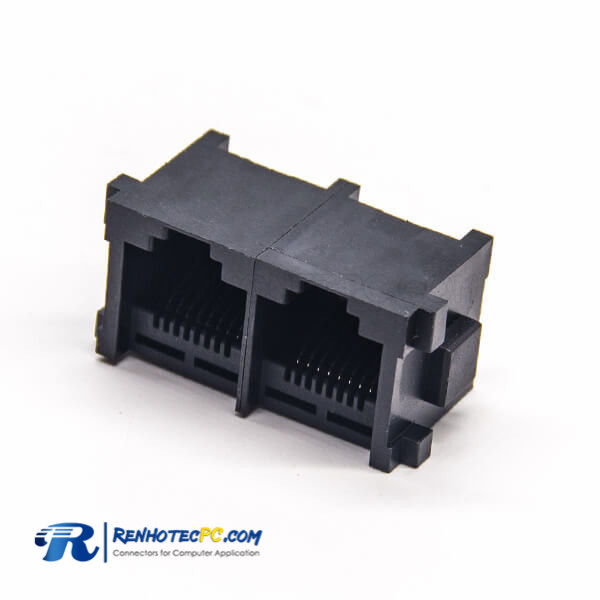 RJ45 Socket PCB Mount Unshielded Black Plastic 180 Degree 2 Port Through Hole