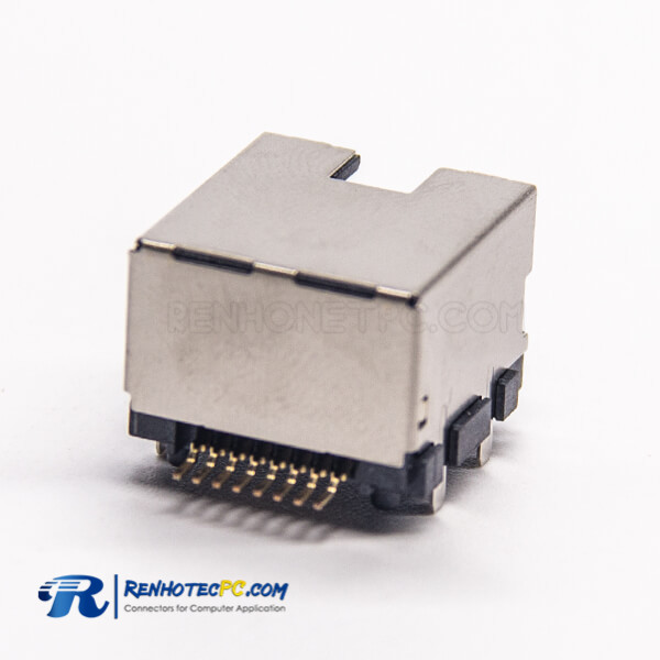 RJ45 PCB 90 Degree Female Connector Shielded without LED SMT