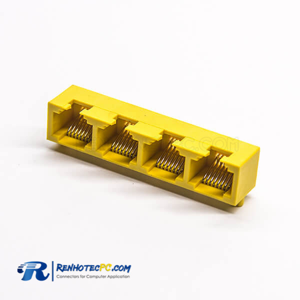 4 Port RJ45 Ethrenet Netword Socket Yellow Plastic Angled DIP for PCB Mount