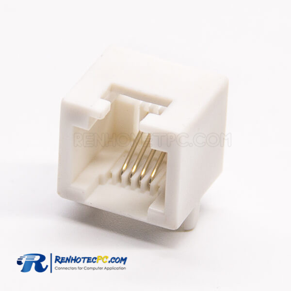 RJ14 Connector Ivory 4p4c Single Port Right Angled DIP Type PCB Mount White Without LED